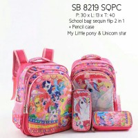 School Bag Sequin 2in1 (Size gede) Little Pony & Unicorn