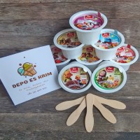 Cup Plastik Es Krim / Ice Cream 60 ml lengkap Tutup Sendok komplit