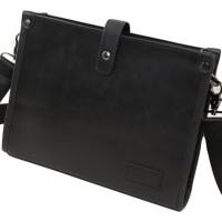 Tas Selempang Pria 2 in 1 Korean Style (clutch and bag) (Solid Black)