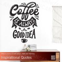 Stiker Cutting Coffee Quotes Sticker Dinding Kaca Cafe Shop Kopi Wall