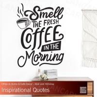 Stiker Cutting Coffee Quotes Sticker Dinding Kaca Kafe Kopi toko cafe