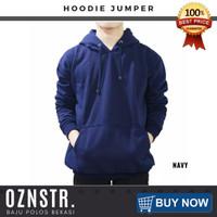 Jaket Sweater Hoodie Jumper Polos Real Cotton Fleece Murah NAVY