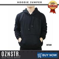 Jaket Sweater Hoodie Jumper Polos Real Cotton Fleece Murah HITAM