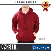 Jaket Sweater Hoodie Jumper Polos Real Cotton Fleece Murah MAROON