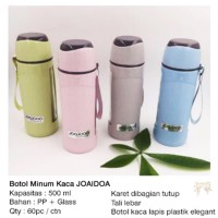 Botol Minum Kaca JOAIDOA / wadah air gelas beling 500ml Souvenir H49-1