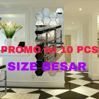 hiasan dinding cermin kaca hexagonal 10 pcs