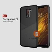 Case Xiaomi Pocophone F1 Casing Slim Business Leather Pattern - Hitam