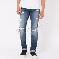 Celana jeans pria basic ripped selvedge aksen robek regular standar 23