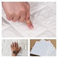 Wallpaper Foam Dinding 3D Batu Bata Putih 70 cm x 77 cm