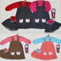 Baju Muslim Anak Bayi Perempuan Gamis Set Jilbab Instant Overall Cat