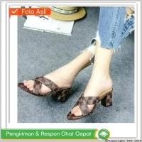 AK- High heels sandal wanita casual pesta motif LV simple hak tahu 7cm