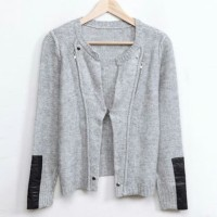 KODZ - Knitted Bomber With Leather Look Sleeves