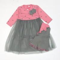 Baju Muslim Gamis Anak bayi Perempuan 6 7 8 9 10 11 bulan dress peach