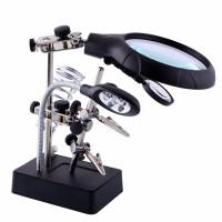 LAMPU LED Pegangan Solder Alat Pembantu Kaca Pembesar dengan Penjepit