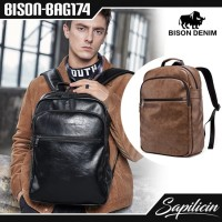 Tas Ransel Kulit Sintetik PU Leather Bison Denim Backpack BISON-BAG174 - Hitam