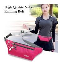 TG02 Tas Pinggang High Quality Nylon Running Belt Import Pria Wanita - grey