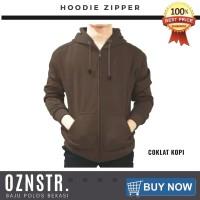 Jaket Sweater Hoodie Zipper Polos Real Cotton Flece Murah COKLAT KOPI