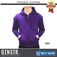 Jaket Sweater Hoodie Zipper Polos Real Cotton Flece Murah UNGU