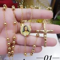 titanium kalung rosario lapis emas 24k 2251