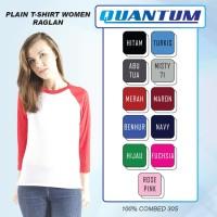 Quantum Kaos Polos Wanita Raglan 3/4Body Putih-Tangan kombinasi Warna