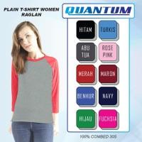 Quantum Kaos Polos Wanita Raglan 3/4 Body Abu Misty-Tangan kombinasi