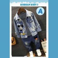 Setelan Jeans Boy Korean Kids Mickey Baju Anak Import Jaket Jeans