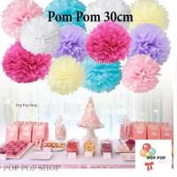 Pom Pom Kertas Bunga Dekorasi / Tissue Flower Ball DIY 30cm