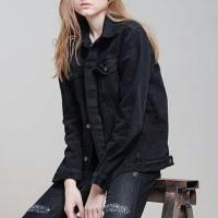 Promo Jaket Levis Jaket Jeans Jaket Denim Warna Hitam Untuk Wanita