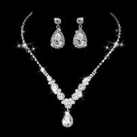 NK0405 - Paket Perhiasan / Set Kalung Anting Pengantin Kristal Zircon