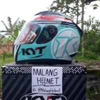 Helm KYT R10 seri Race Aqua Flat Visor (Ongkir Termurah 2 kg)