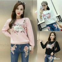 Ec Top LOVE YOU longsleeve Peach Hitam Putih ATASAN