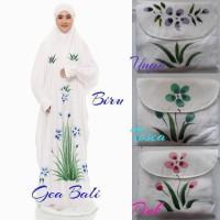 Mukena Bali Terusan Abaya Lukis Warna Putih Motif Bunga