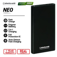 Delcell Power Bank NEO 10000mAh Polymer Battre - Real Capacity - Putih