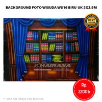 Background Backdrop Layar foto Rak buku Wisuda Gorden Biru 3x2.5m