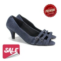 Super Sale Sepatu Cewek Emely Dark Blue High Heels MURAH