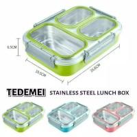 Tedemei Kotak Makan Bekal Stainless Steel Anti Tumpah Antar Sekat