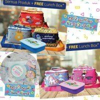Gabag Kids Medium Lunch bag Cooler Bag 4in1 5 Pilihan Motif