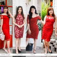Christmas Lace Dress Gaun Natal Gaun Formal Pakaian Wanita DS941 - VIRGIN