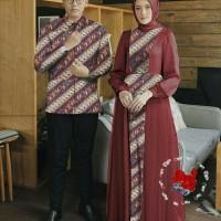 Baju Batik Busana Muslim Gamis Couple Pria Wanita Kasmara Kubus