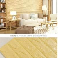 Wallpaper Sticker Dinding Foam Brick 3D Kream