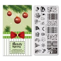termurah Stamping Plate Nail Art Desain Pohon Natal Manusia Salju