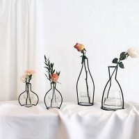 termurah 8 Style Plant Iron Wire Stand Holder Metal Pot Black Flower