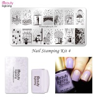 hrgapromo Beautybigbang 4Pcs Set Stamping Plate Nail Art Desain Payun