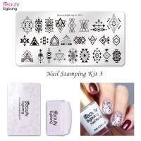 Hrgapromo Beautybigbang 4Pcs Set Stempel Nail Art Motif Geometri