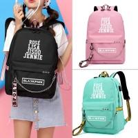 Hrgapromo BLACKPINK Rose Lisa JENNIE USB Backpack School Bags