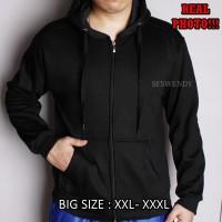 Jaket Hoodie Zipper pria Full black Hitam Polos BIG SIZE XXL - XXXL