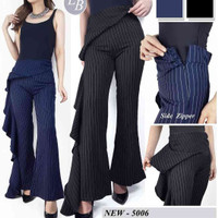 S104 Yvonne stripe side ruffle trouser high waist pants original