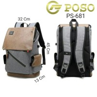 POSO Curve Tas Ransel Laptop Backpack Pria Usb Port Charger Rain Cover - Abu-abu