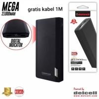 powerbank delcell mega 21000 mah layar led. real. fast. original