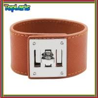 Baru Luxury Cuff Women Leather Bracelet Bangles Simple Steel Lock
